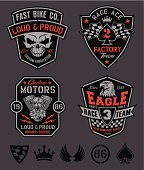 A set of motor sport-inspired emblem graphics with coordinating icon elements.  Vector eps for easy editing.