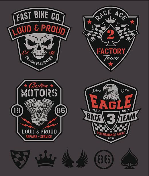 Motor patches emblem set vector art illustration