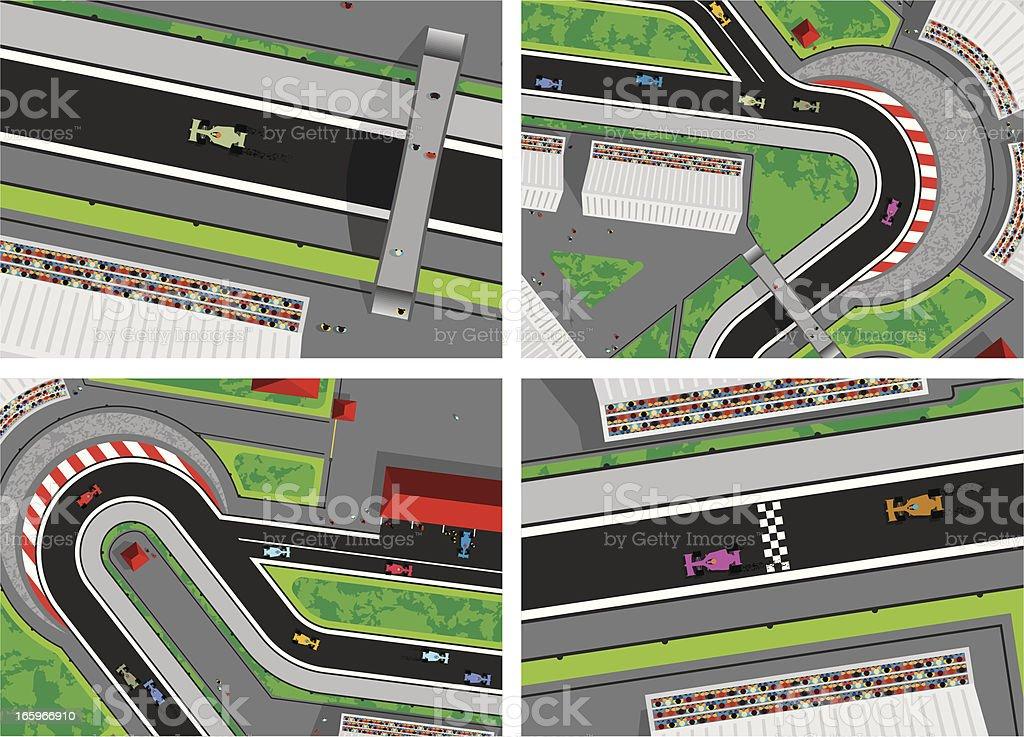 Motor Race Aerial Shots vector art illustration