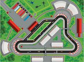Race car track vector illustration with a race in progress. View from above of a race circuit including, race cars, spectators, emergency vehicles, pit lane, pit crews, team semi-trucks and transportation, helicopters, stands and buildings. Aerial view of entire race scene. Fully editable and infinitely scaleable.