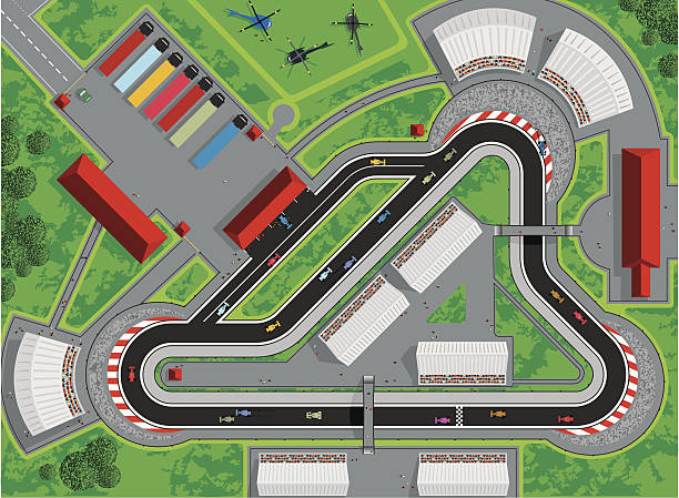 Motor Race Race car track vector illustration with a race in progress. View from above of a race circuit including, race cars, spectators, emergency vehicles, pit lane, pit crews, team semi-trucks and transportation, helicopters, stands and buildings. Aerial view of entire race scene. Fully editable and infinitely scaleable. indy racing league indycar series stock illustrations