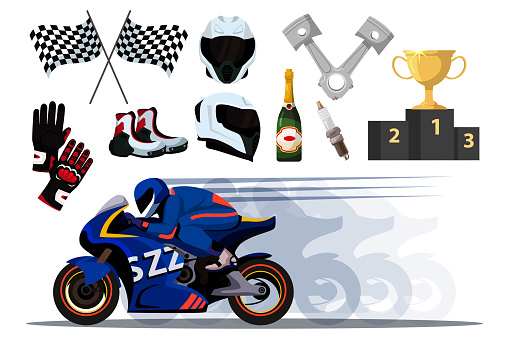 Motor racer and accessory set isolated on white