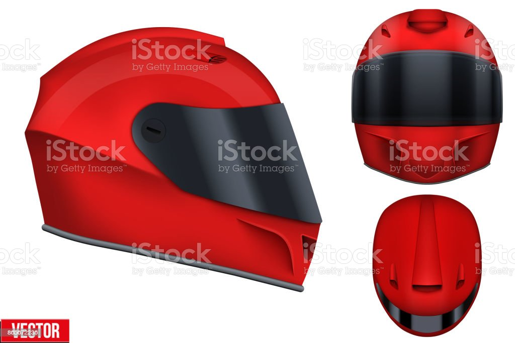 Motor racing helmet with glass visor. vector art illustration