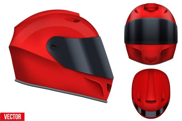 motorsport-helm mit visier glas. - sportschutzhelm stock-grafiken, -clipart, -cartoons und -symbole