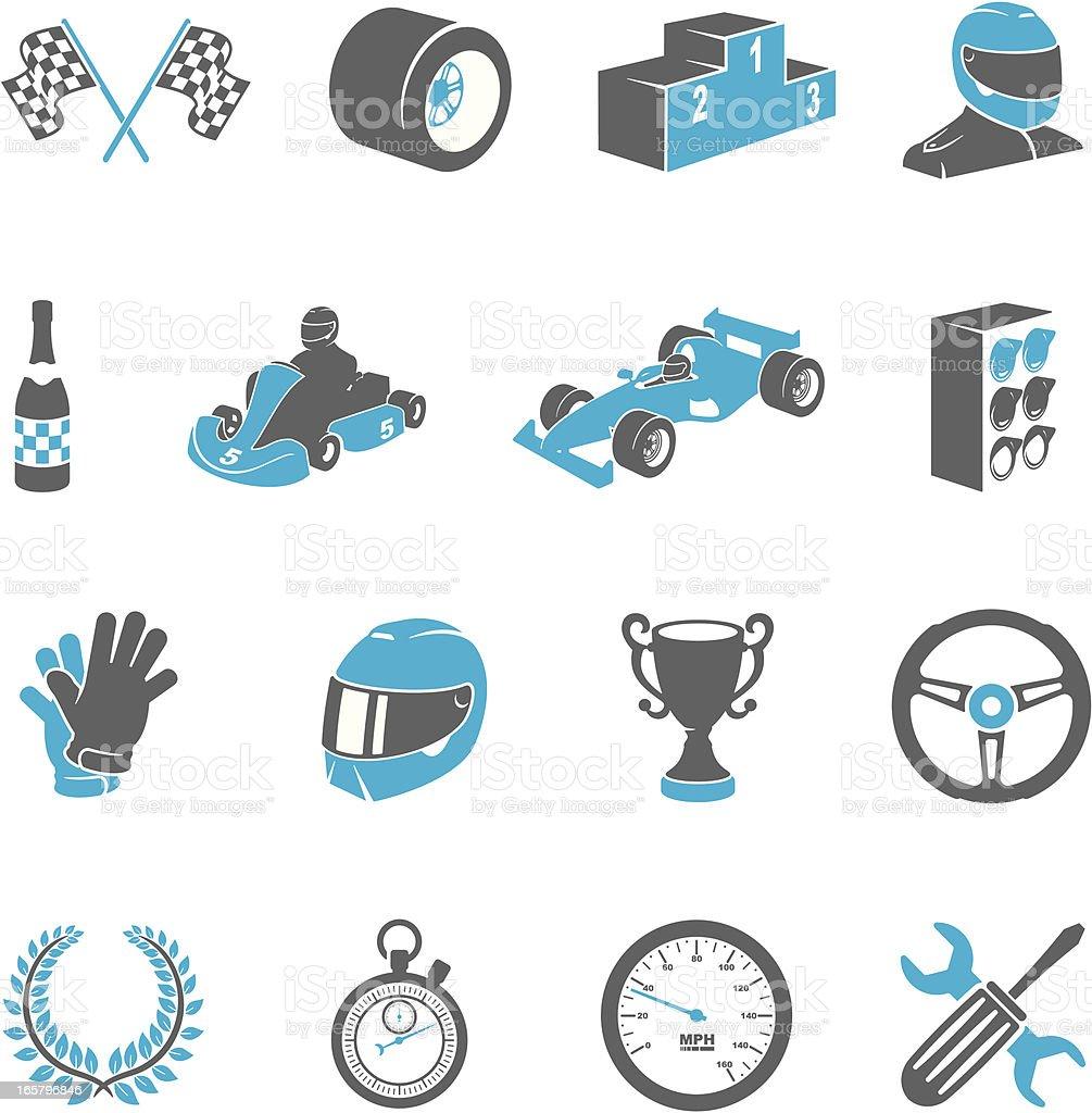 Motor Racing Icons vector art illustration