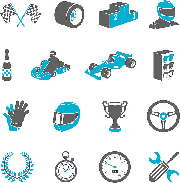 Motor Racing Icons Two tone motor racing icon set. Blue and gray individual icons. Set includes checkered flag, wheel, podium, driver, champagne, go-kart, race car, starting lights, gloves, helmet, steering wheel, winners wreath, stopwatch, odometer, maintenance and winners trophy icons. All icons are independently editable. screwdriver drink stock illustrations