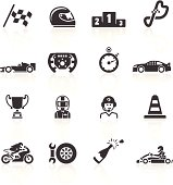 Motor Racing Icons. Layered & grouped for ease of use. Download includes EPS 8, EPS 10 and high resolution JPEG & PNG files.