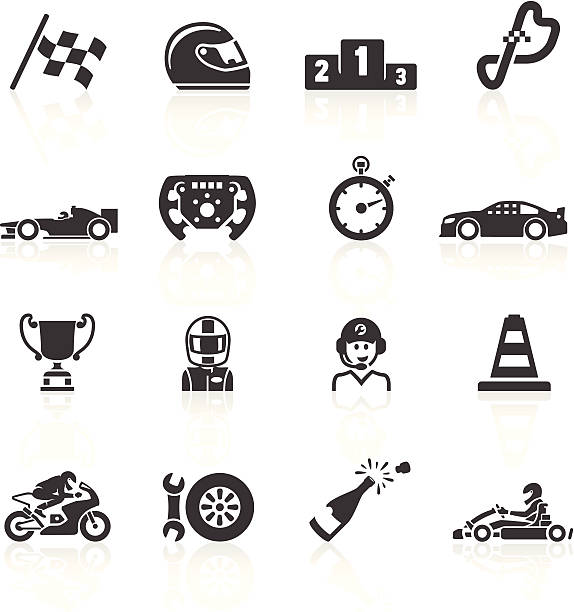 stockillustraties, clipart, cartoons en iconen met motor racing icons - chauffeur beroep