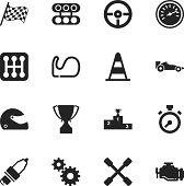 Motor Racing Silhouette Icons