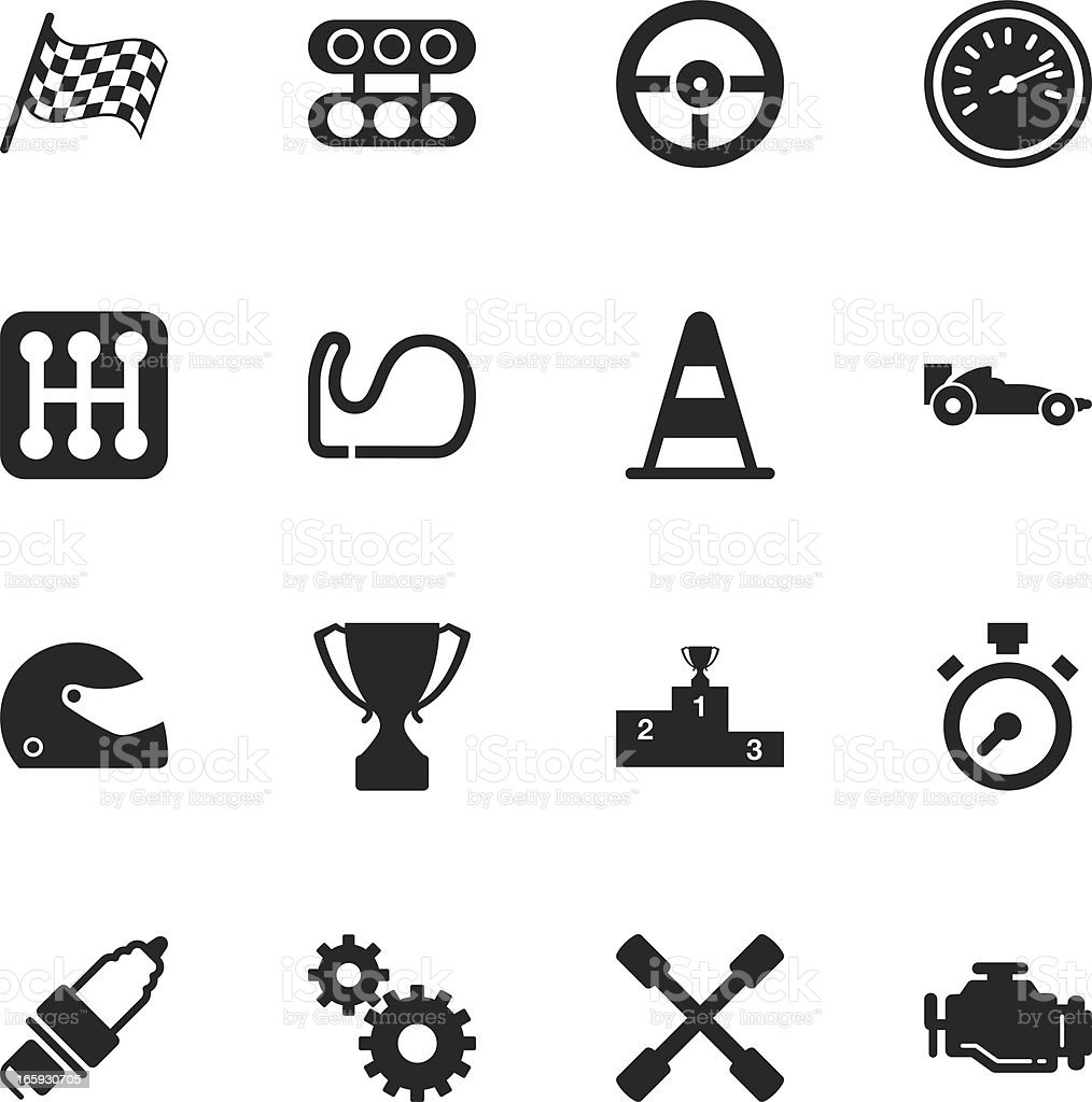 Motor Racing Silhouette Icons vector art illustration