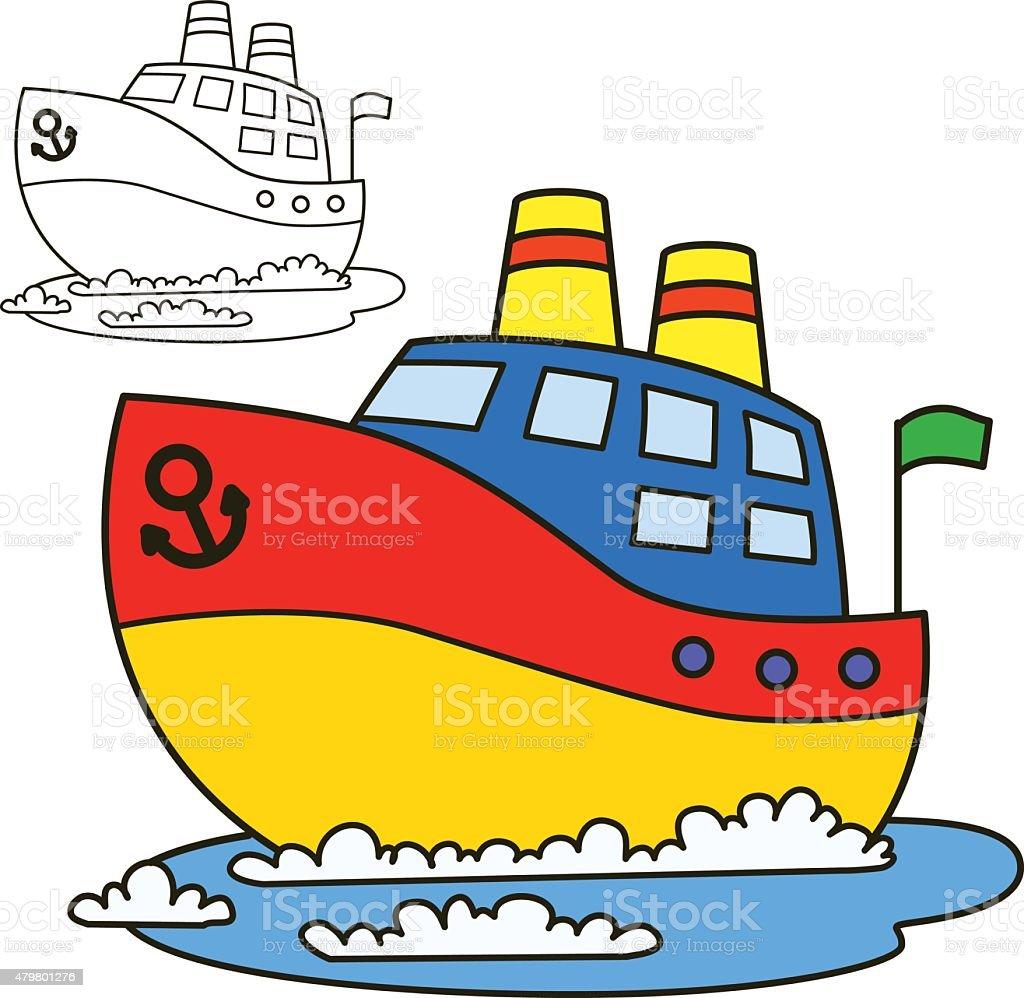 Motor Barco Libro Para Colorear Página Ilustración Vectorial De ...