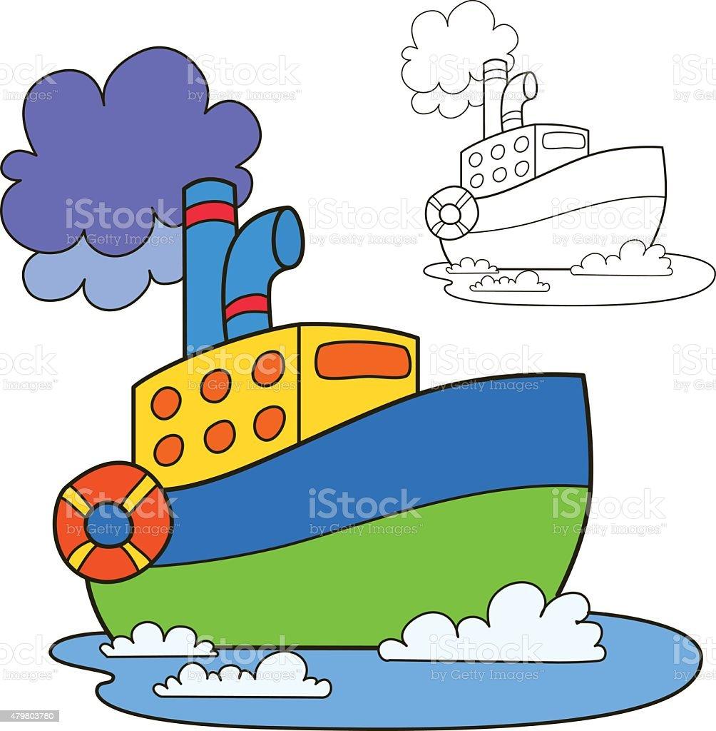 Ilustración de Motor Barco Libro Para Colorear Página Ilustración ...