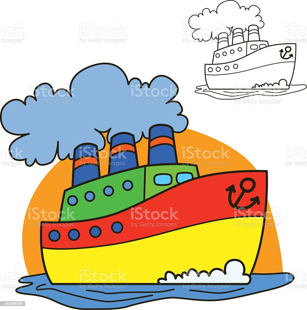 motor ship coloring book page cartoon vector illustration stock