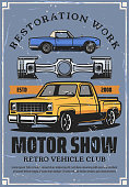 Motor show poster with retro cars and auto part