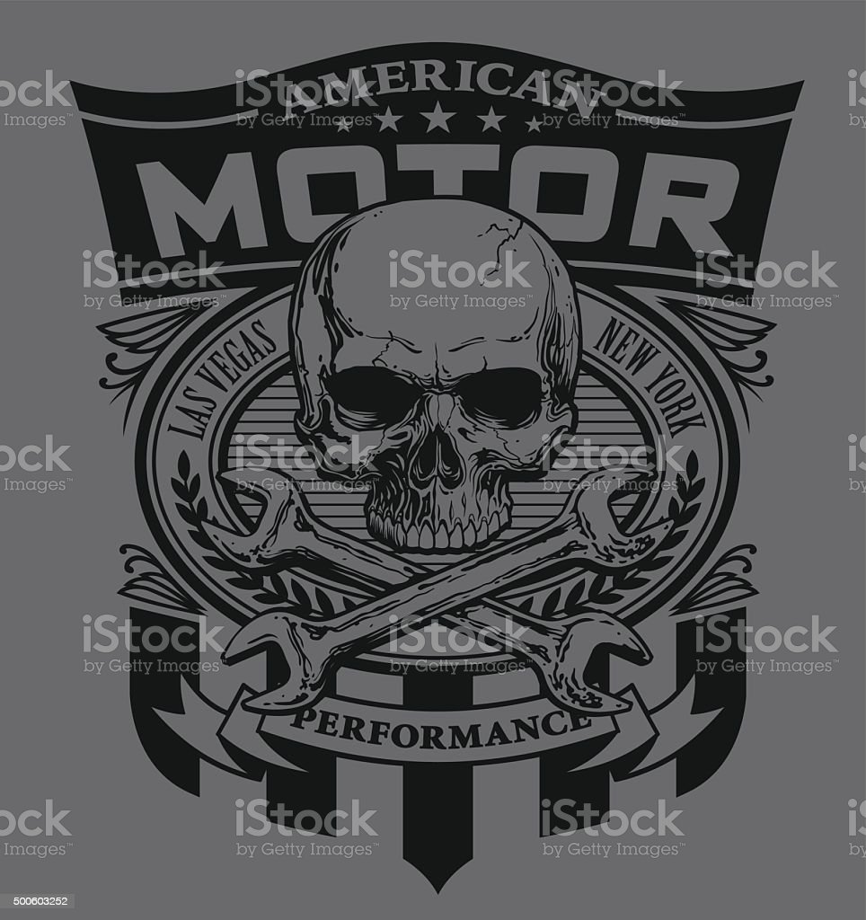 Motor skull shield design vector art illustration