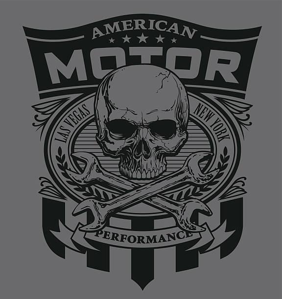Motor skull shield design vector art illustration