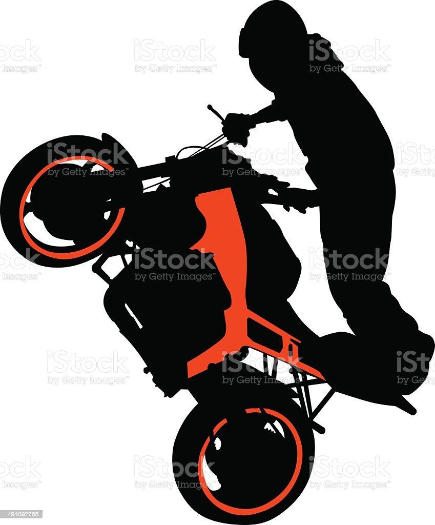 Motor sport biker vector art illustration
