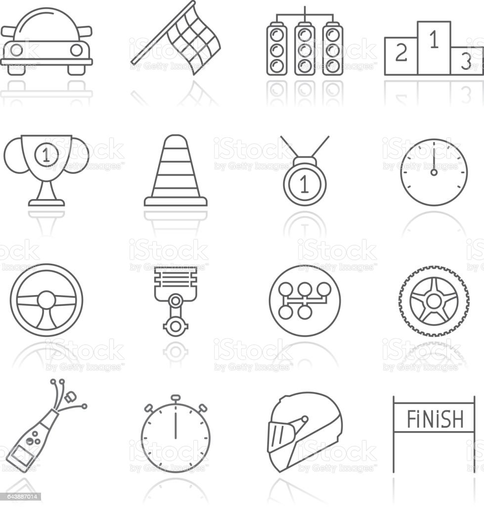 motor sports and racing icons vector art illustration