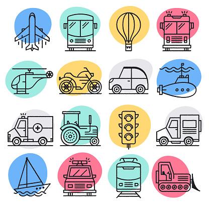 Motor Vehicle Emissions Doodle Style Vector Icon Set