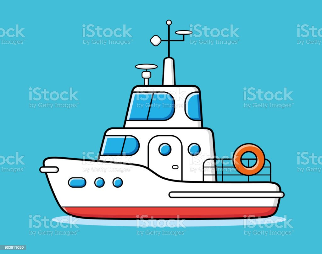 Motor yacht boat - Royalty-free Adventure stock vector