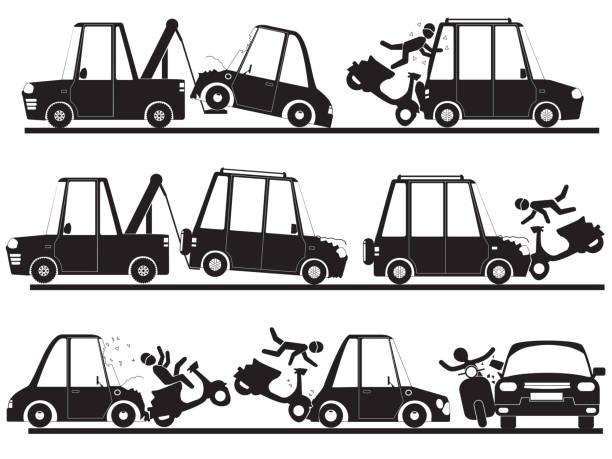 motorradunfall mit auto in der silhouette festgelegt. - schrottplatzkunst stock-grafiken, -clipart, -cartoons und -symbole