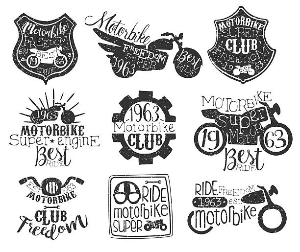 Motorbike Club Vintage Stamp Collection vector art illustration