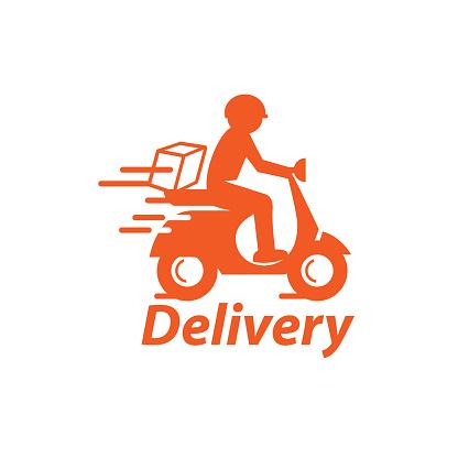 Motorbike & Delivery Man Logo. Icon & Symbol Vector Template.