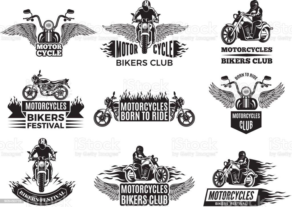 Ilustraciones de la moto. Logos para el club de ciclismo - ilustración de arte vectorial