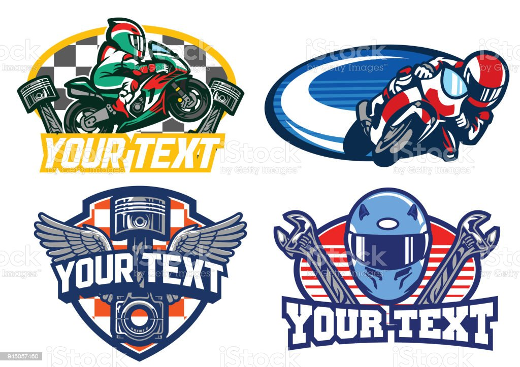 motorbike racing badge design vector art illustration
