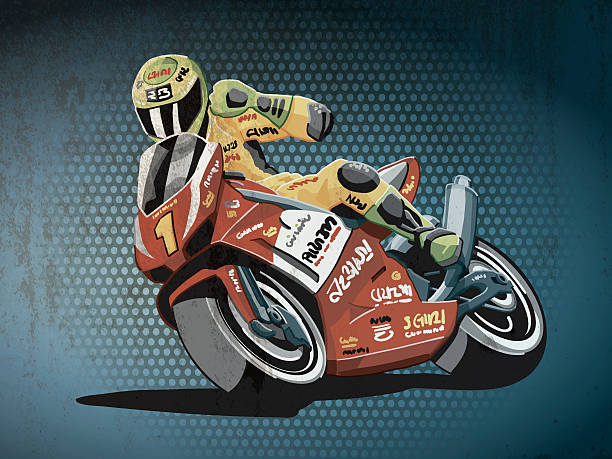 Motorbike Racing Grunge Color Grunge vector artwork of a Motorbike Racing Driver, who celebrates his victory. The colors in the .eps-file are ready for print (CMYK). Transparencies used. All objects are on separate layers. Included files: EPS (v10) and Hi-Res JPG. sport stock illustrations