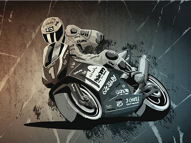 Motorbike Racing Grunge Monochrome Digital grunge vector artwork of a Motorbike Racing Driver, who celebrates his victory. The colors in the .eps-file are ready for print (CMYK). Transparencies used. All objects are on separate layers. Included files: EPS (v10) and Hi-Res JPG. motor sport stock illustrations