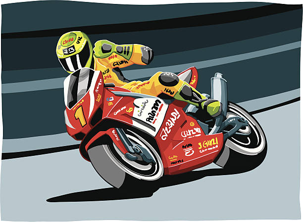 Motorbike Racing Vector Illustration of a motorbike racing driver, who celebrates his victory. The background is on a separate layer, so you can use the illustration of the motorbike on your own background. Included: EPS (v8), AI (CS2) and Hi-Res JPG. Additionally there are different backgrounds in the illustrator-file included. sport stock illustrations
