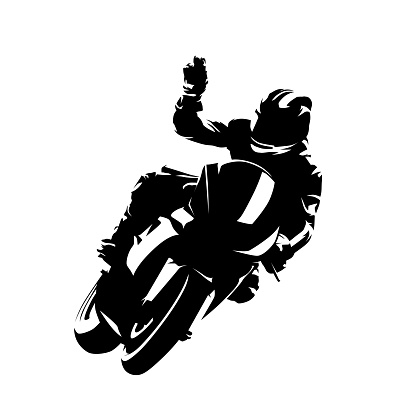 Motorbike rider celebrates victory. Isolated vector silhouette. Ink drawing. Motorsport racing