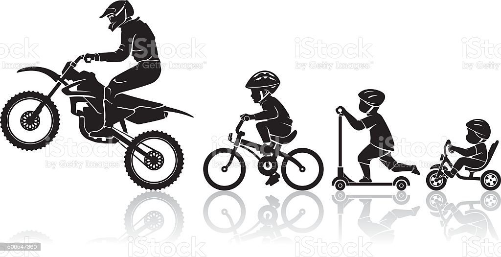 Motorbike Rider Evolution vector art illustration