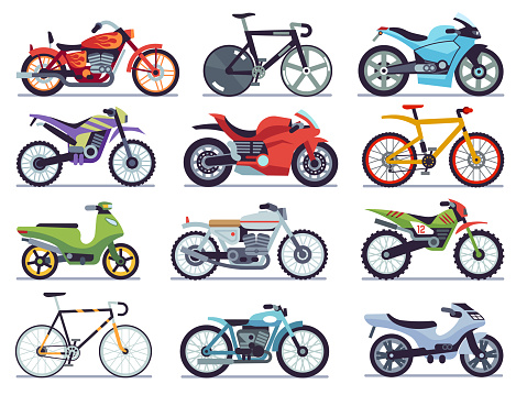 Motorbike set. Motorcycles and scooters, bikes and choppers. Speed race and delivery retro and modern vehicles flat vector collection