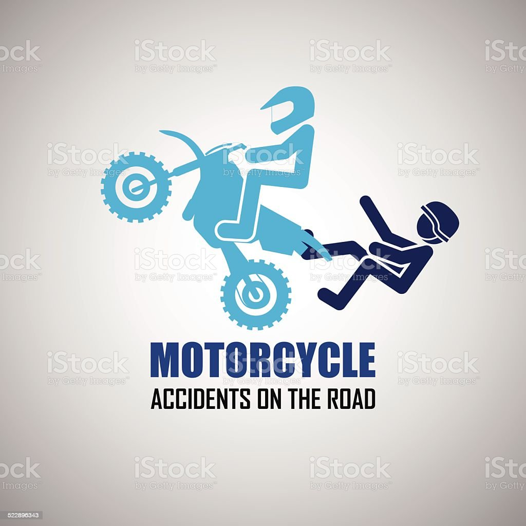 Motorcycle  accidents icons vector art illustration