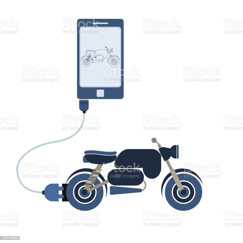Motorcycle Automation Using Cell Phone Royalty Free Stock Vector Art