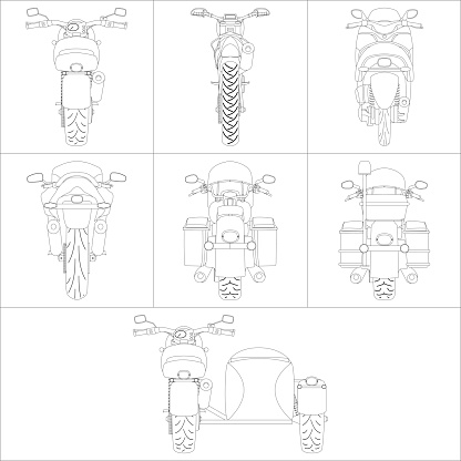 Motorcycle back view set painting canvas set vector illustration