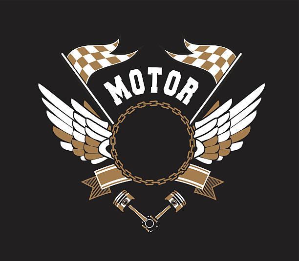 bildbanksillustrationer, clip art samt tecknat material och ikoner med motorcycle badge vectors - wheel black background
