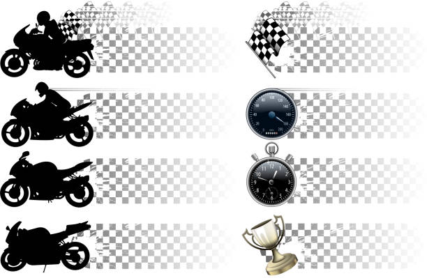 motorcycle banner set drawing and computer design of vector motorcycle banner and materials. three wheel motorcycle stock illustrations