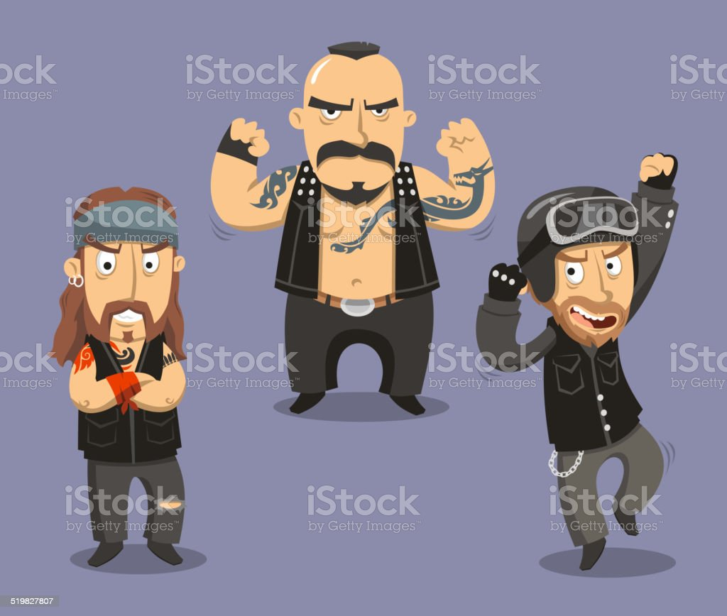 Motorcycle Bikers Club Members vector art illustration