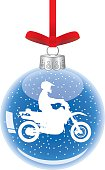 Vector illustration of a glass christmas ornament with a white motorcycle inside hanging from a red ribbon.