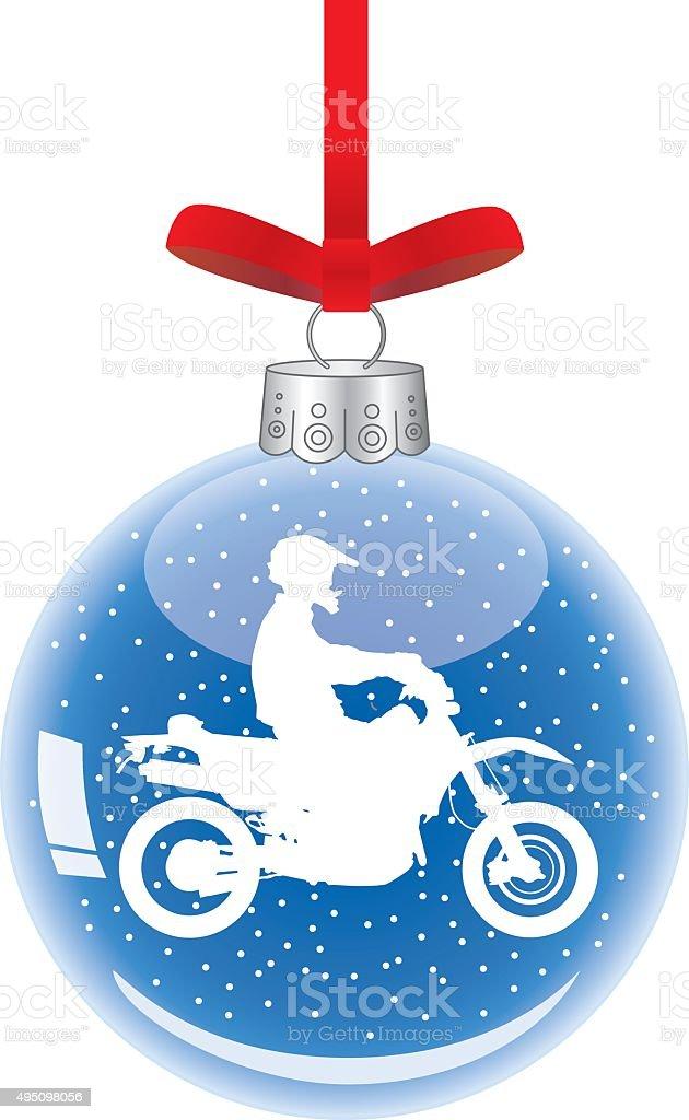 Motorcycle Christmas Ornament vector art illustration