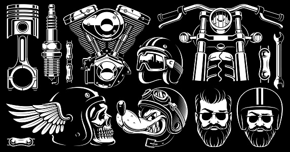 Motorcycle clipart with 11 elements (version for dark background)