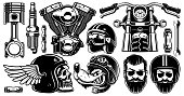Motorcycle clipart with 11 elements (version for white background)