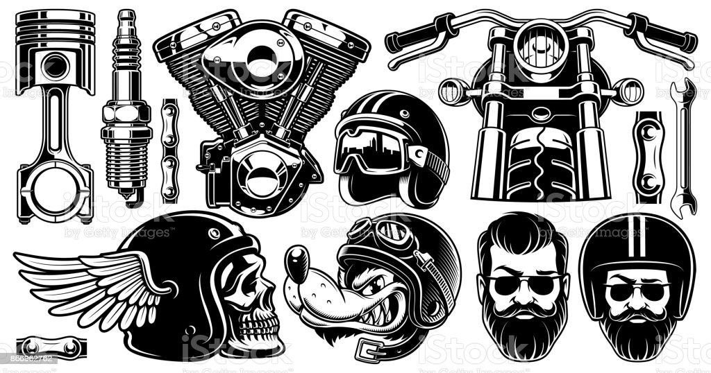 Motorcycle clipart with 11 elements (version for white background) vector art illustration