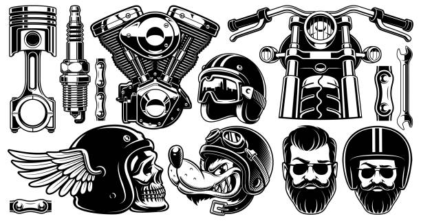 motorcycle clipart with 11 elements (version for white background) - motorcycle stock illustrations, clip art, cartoons, & icons