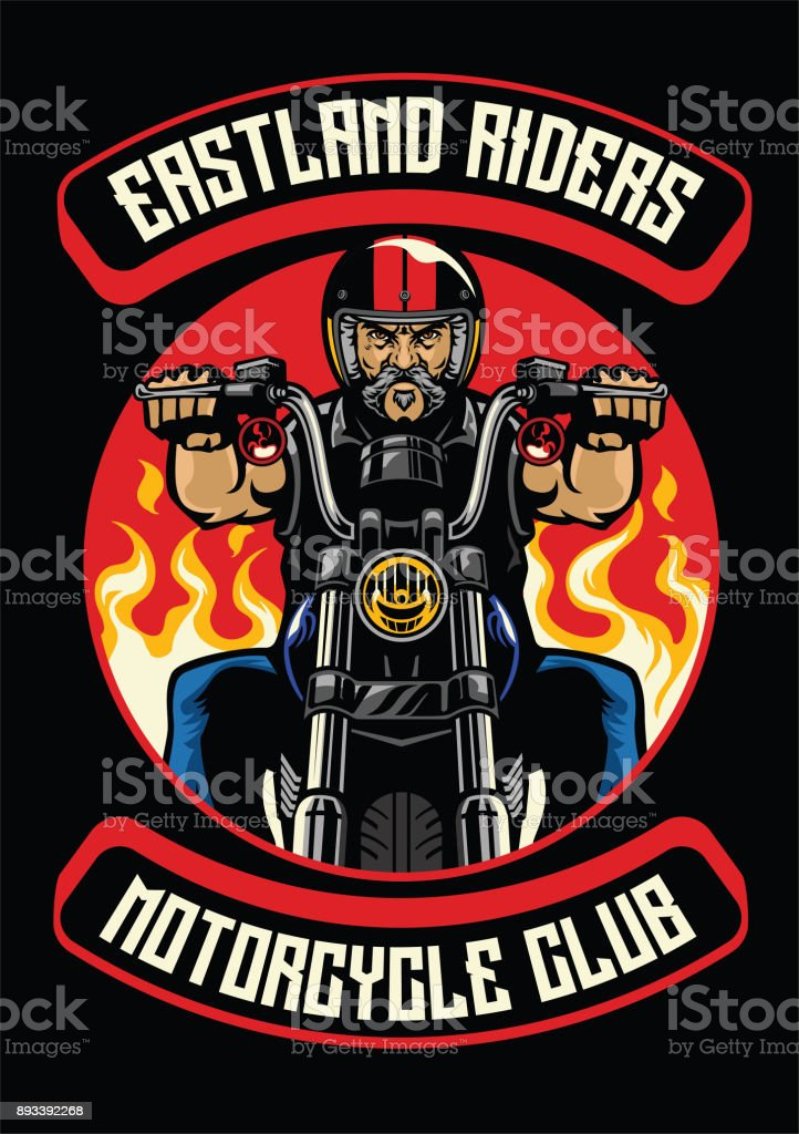 motorcycle club badge of old man ride motorcycle vector art illustration