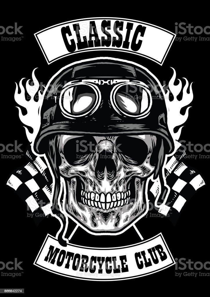 Motorradclubabzeichen Mit Totenkopf Mit Helm Stock Vektor Art und ...