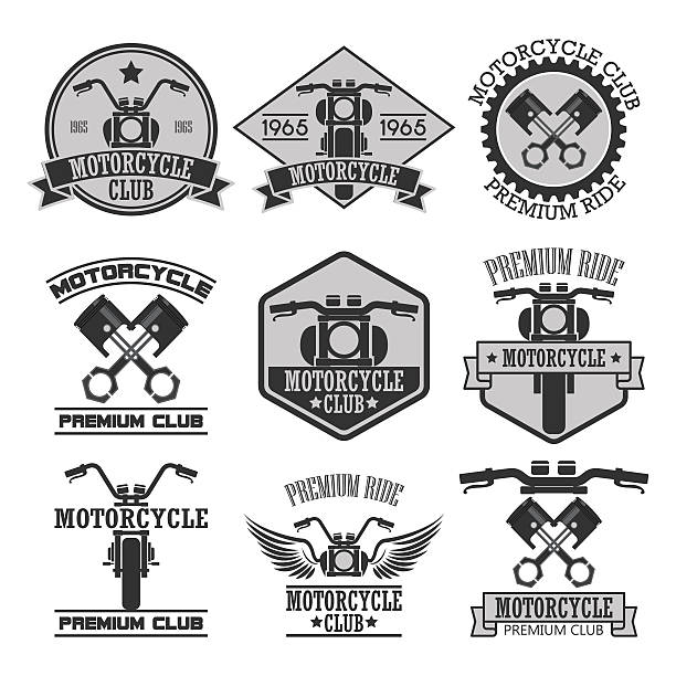 Motorcycle Club Badges vector art illustration